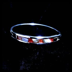 Silver & Orange Inlay Bangle Bracelet